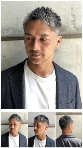 40代50代世代の白髪メンズショート刈り上げロマンスグレー