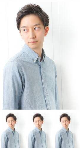 ビジネス流行モテ髪サイドパート黒髪アップバングイケメン七三