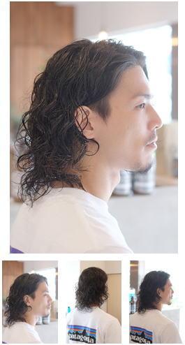 大人な黒髪ロング/ツーブロック×パーマスタイル