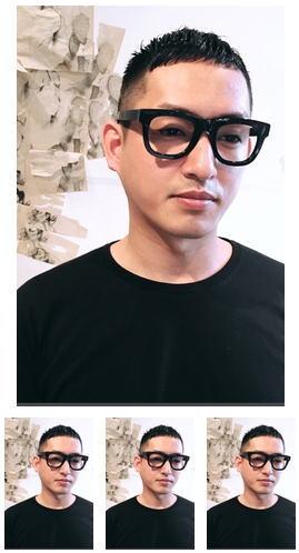 ビジネス黒髪クロップとメガネ