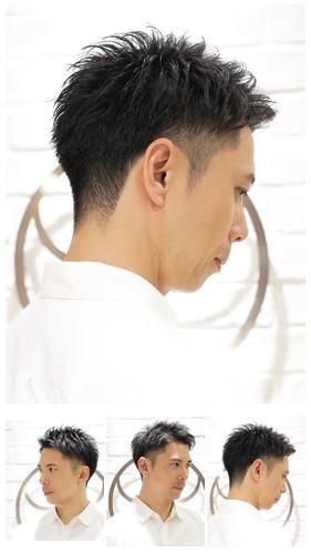 刈り上げツーブロックビジネスアップバング後ろ髪