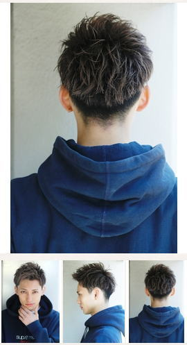 くせ毛風パーマショートレイヤーソフトツーブロックかき上げ後ろ髪