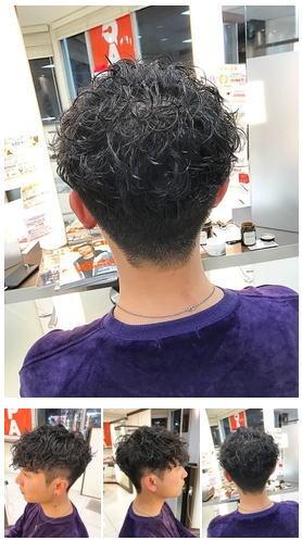 横浜メンズツーブロック前下がりマッシュスパイラルパーマ後ろ髪