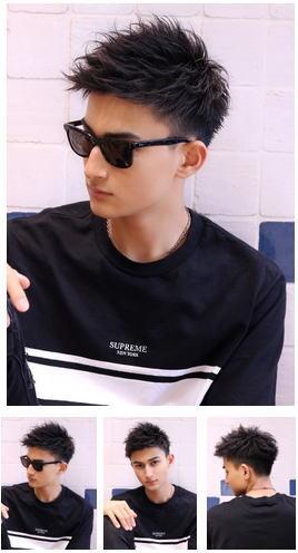ソフトモヒカンワイルドアップバング/ビジカジ社会人黒髪短髪