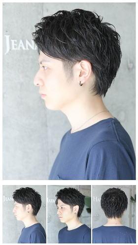 アップバングモテ黒髪ショート/ツーブロックビジネス