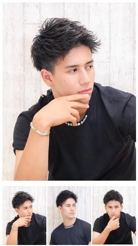 短髪ツーブロックスパイキーショートアップバング流行黒髪