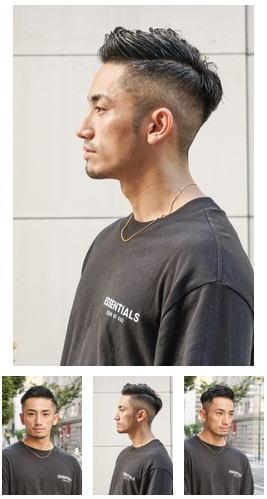 七三オールバックツイストパーマかき上げヘアコンマヘア