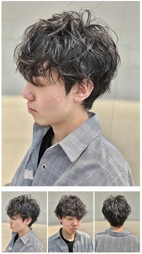 韓国風ヘア脱マッシュスパイラルパーマ黒髪パーマ