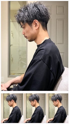 くせ毛カット前下がりセンターパート短髪パーマ