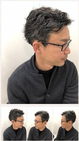 刈り上げグレイヘア×パーマ