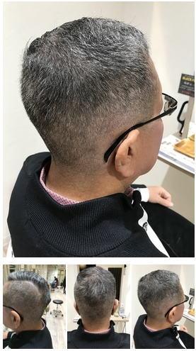 極薄メンズフェードスタイルグレイヘアを活かして