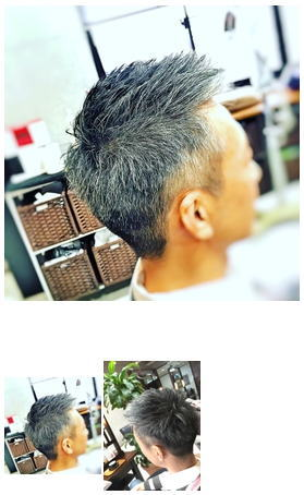 短髪ショートアップバングスタイル×グレイヘア
