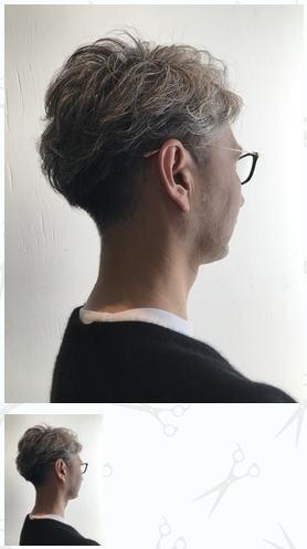 ツーブロックのグレイヘア