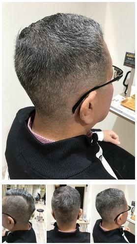 極薄メンズフェードスタイルグレイヘア