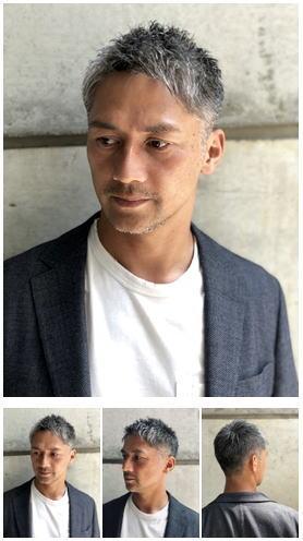 40代白髪メンズショート刈り上げロマンスグレー