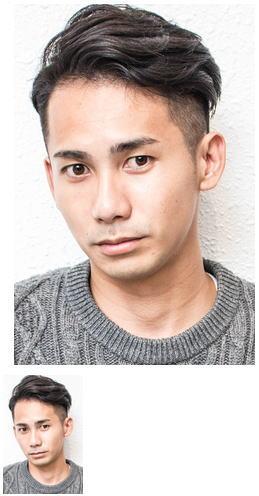 黒髪アップバングビジネス流行モテ髪サイドパートイケメン