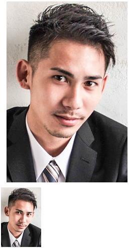 モテ髪サイドパートビジネス流行黒髪アップバング七三