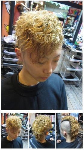 刈り上げ金髪モヒカンパーマスタイル