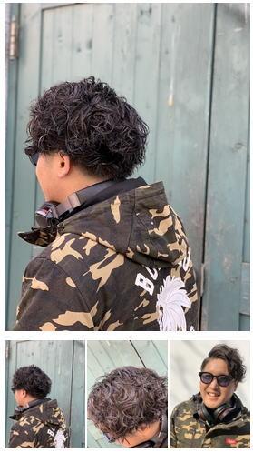 黒髪にお洒落なパーマメッシュスタイリング