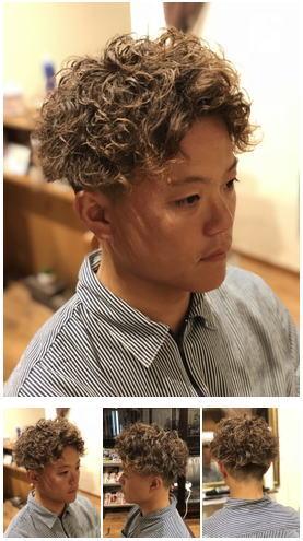 サーファースパイラルパーマショートヘア