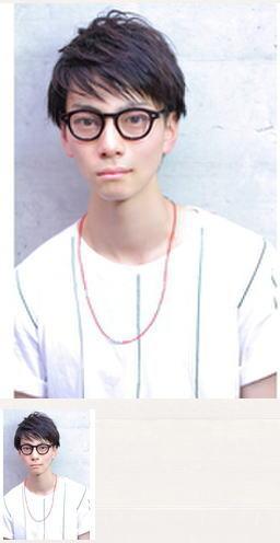 メガネ七三メンズショートヘアスタイル
