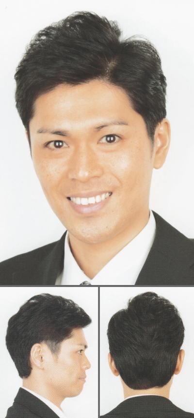 「横分け×アップバンクのショートヘア」ヘアスタイル