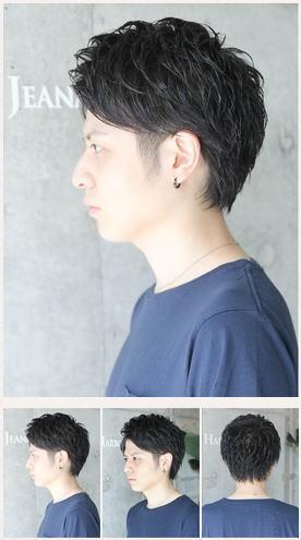 アップバングのモテ黒髪ショート2ブロックヘア
