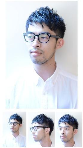 メガネ×刈り上げ黒髪ショートスタイル