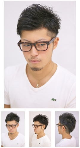 カジュアル七×三黒髪短髪スタイル