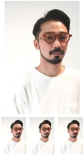 黒髪とメガネとお髭の七三分けツーブロック刈り上げ