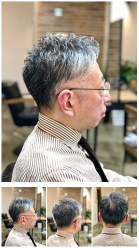 刈り上げツーブロックグレイヘアショート